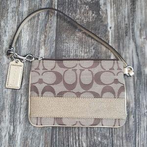 Coach Wristlet gold & brown mini purse